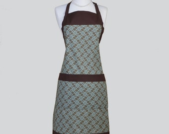 Full Chef Retro Apron / Womans Cute Kitchen Cooking Apron Brown and Teal Geometric Design in a Single Sided Cute Vintage Chef Apron Large
