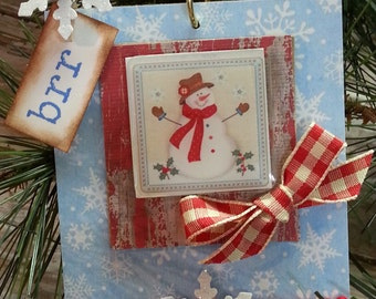 Rustic Vintage Snowman Christmas Ornament / Retro / Red Turquoise Blue / Glitter Snowflakes / Red Bead Wire Hanger / Gift Tags / 3 Day Ship