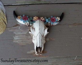Bohemian Mini Cow Skull with Florals / Turquoise Flowers / Tribal Indian Cowboy Western / Faux Taxidermy The Hanja / Home Decor Wall Hanging