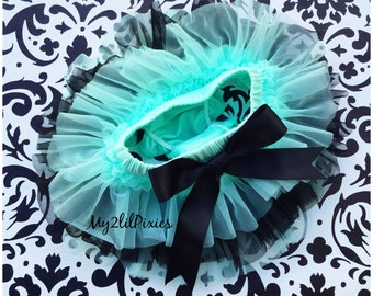 Black and Mint TUTU bloomers, ruffles all the way around,Chiffon Baby Bloomer, Diaper cover, photo prop, newborn tutu bloomer ready to ship
