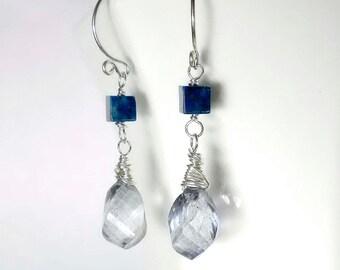 Blue Quartz Earring Lapis Earrings Blue Drop Earring Blue Briolette Earring Lapis Lazuli Sterling Silver