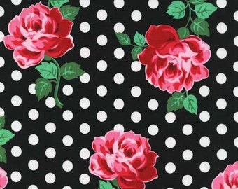 Michael Miller Retro Inspired Cotton Fabric CX6852BLK  Roses on Black  Lucy