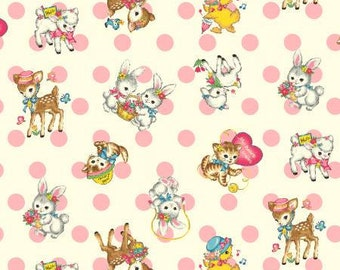 Dear Little World Bambino LW1909-14A Quilt Gate Cotton Fabric Baby Animals and Dots