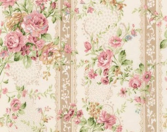 Emma 2 Collection   by From Robert Kaufman Blush Floral On Stripe   SRK672397