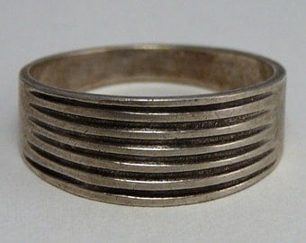 Modernistic Grooved Ring Sterling Silver