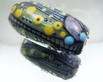 Moogin Beads-  turquoise oval focal bead  lampwork / glass   - SRA
