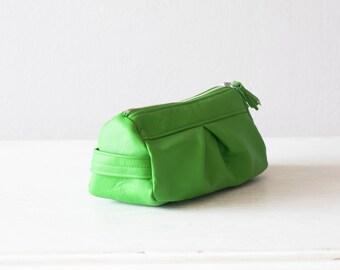 Light green leather accessory bag, makeup case cosmetic bag zipper utility bag travel zipper storage - Estia Bag