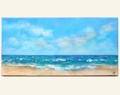 Beach painting, long 12x24 horizontal beach art. Turquoise water and waves textured ocean painting