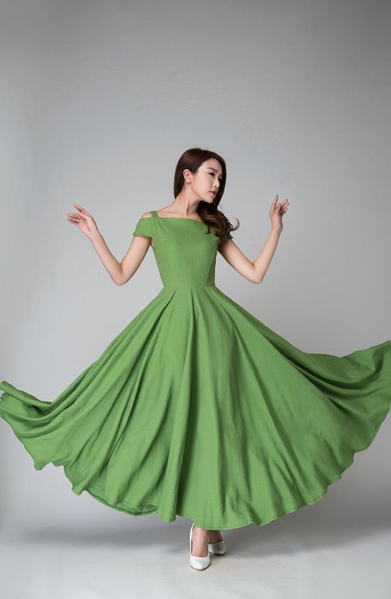 off shoulder dress, Green dress, full length dress,  linen dress,  maxi dress ,party dress, women dresses, linen clothing, mod clothing 1531