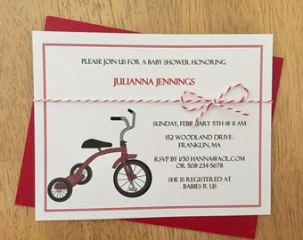 Tricycle Invitation, shower, birthday, red tricycle