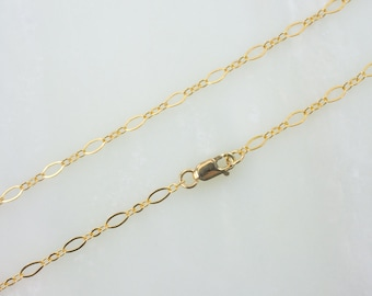 """30""""  Gold Filled Long And Short Oval Chain Necklace With Lobster Clasp"""
