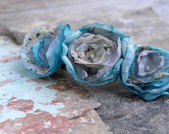 Blue flowers french barrette, Hair accessories, Floral french clip, Floral hair clip, TAGT Team