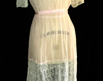 FINAL SALE Antique Edwardian Dress Pink Gown Beaded Bodice Floral Short Sleeve Historical Theater Period Event Lace Handmade Wearable
