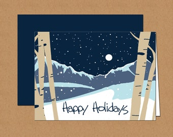Snowy Mountain and Aspen Holiday Cards (set of 12)
