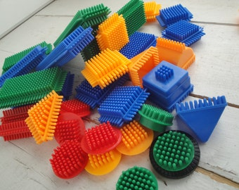 Vintage Bristle Blocks Set of 32