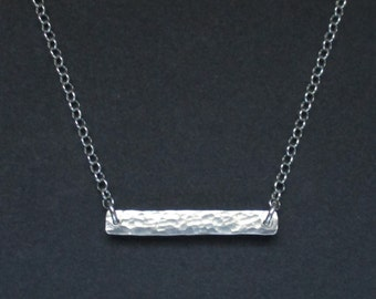 Sterling Silver Forged Bar Necklace
