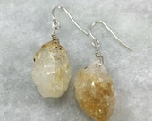 Wire Wrapped Citrine Nugget Earrings | Sterling Silver | Gold Filled | E31602-S,G