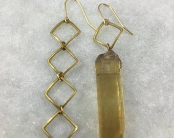 Brass Asymmetric Citrine Earrings | E21602