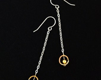 Abacus Earrings in Brass and Stainless Steel