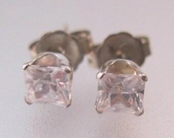 10% OFF SALE Vintage 14k WG 1/3 carat Cz Princess Cut Stud Earrings 4mm Fine Jewelry Jewellery
