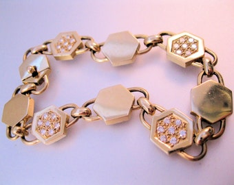 Vintage 14k CABOU Signed .84ct Diamond Hexagon Link Bracelet Jewelry Jewellery
