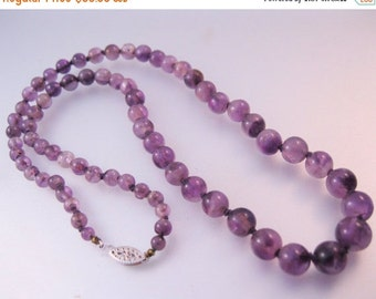 """VALENTINES Day Sale Vintage 10k Graduated Amethyst Beaded Strand Necklace 20"""" Jewelry Jewellery"""