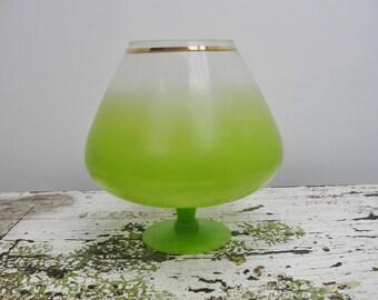 Vintage large lime green brandy snifter Blendo gold trim