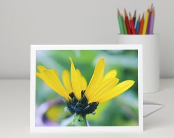 Sunflower photo note card, bright yellow flower photography blank notecard stationery, a2 or a7