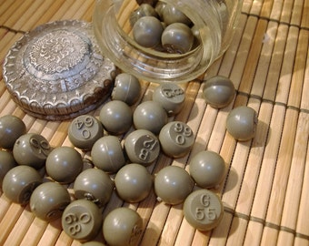 42 pc Lot of Vtg Army Green Bingo Balls in Richard Hudnut Marvelous Cold Cream Jar. Jewelry making.