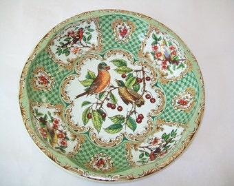 Daher Birds Tin Bowl, dish, green, 1971