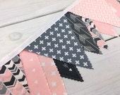 Bunting Banner, Girl Nursery Decor, Birthday Decoration - Grey, Pink, Gray, Aztec Nursery, Tribal Nursery, Arrow, Deer, Woodland