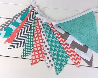 Banner Bunting, Photo Prop, Fabric Flags, Home Decor, Baby Shower, Birthday - Coral Pink, Teal Blue, Turquoise and Gray Chevron Dots