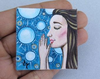 Collectable Tiny Miniature Original Acrylic Painting on Canvas Woman Portrait Dollhouse Miniature Prayer
