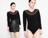 80s Black Bodysuit Sequin Beaded Top Fitted Cotton Stretch Knit Long Sleeve Leotard XS S