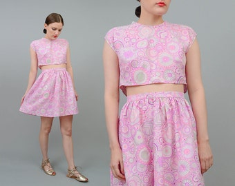 Vintage 60s Playsuit Pastel Floral 2 pc Set 1960s Mod Crop Top High Waist Full Mini Skirt Two Piece Outfit Pink Purple Extra Small XS S