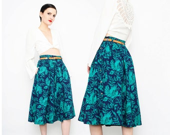SALE 80s does 70s Batik Skirt Peacock BIRD Novelty Print Boho Hippie Cotton Skirt High Waisted Full Midi Skirt Navy Green S M