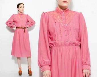 70s Dusty Rose Pink Secretary Dress Sheer Lace Neckline Victorian Dress 1970s Long Sleeve Peasant Prairie Knit Midi Dress Small Medium S M