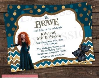 Brave Princess Merida Birthday Party Invitation
