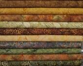 Island Batik, Fall Leaves and Brown Wilmington Prints. 12 Fat Quarter Bundle Pre-Cuts!  Fat Quarter Batik Sampler--100% Cotton