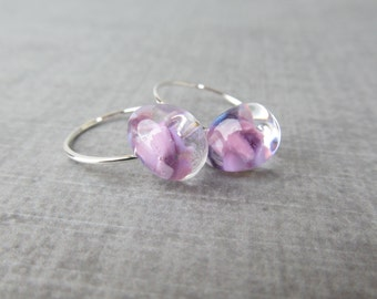 Small Lilac Hoops, Light Purple Earrings, Small Silver Wire Earrings, Lilac Earrings, Purple Lampwork Glass Earrings, Sterling Silver Hoops