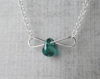 Silver Teal Necklace, Minimalist Wire Necklace, Teal Glass Lampwork Necklace, Teal Layering Necklace, Sterling Silver Necklace Teal Silver
