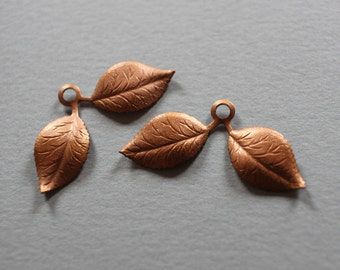 Vintage Copper Double Leaf Charm Finding