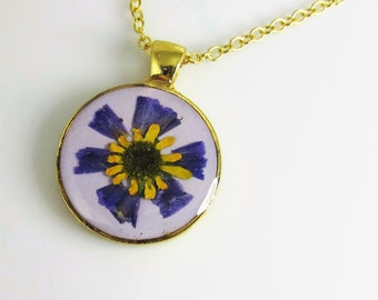 MiniSunflower on Lavender,   Pressed Flower Pendant, Real Flowers in Resin, Pewter (1896)