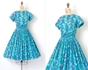 vintage 1950s dress / blue floral print floral 50s dress / Mode O'Day