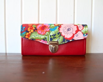 Necessary Clutch Wallet in Alexander Henry Floral with red vinyl