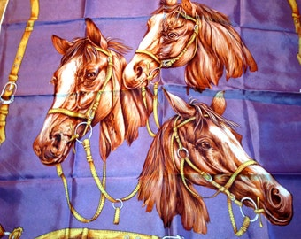 Vintage Silk  Scrarf in Equestrian Design