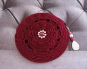 Petite Lily Pouch in cranberry red and fully lined ~~ Reserved for Jill~~~
