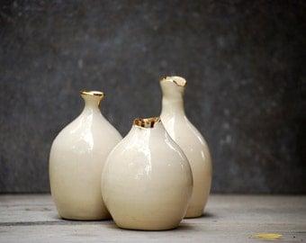 set of three ceramic bud vase, gold vase, handmade ceramic bud  vase,  modern minimal decor,