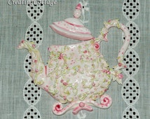 Teapot Furniture Applique Handmade Shaby Chic Cottage Style     OOAK