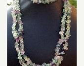 SALE ETHEREAL Aquamarine necklace with amethyst, quartz, and adventurine